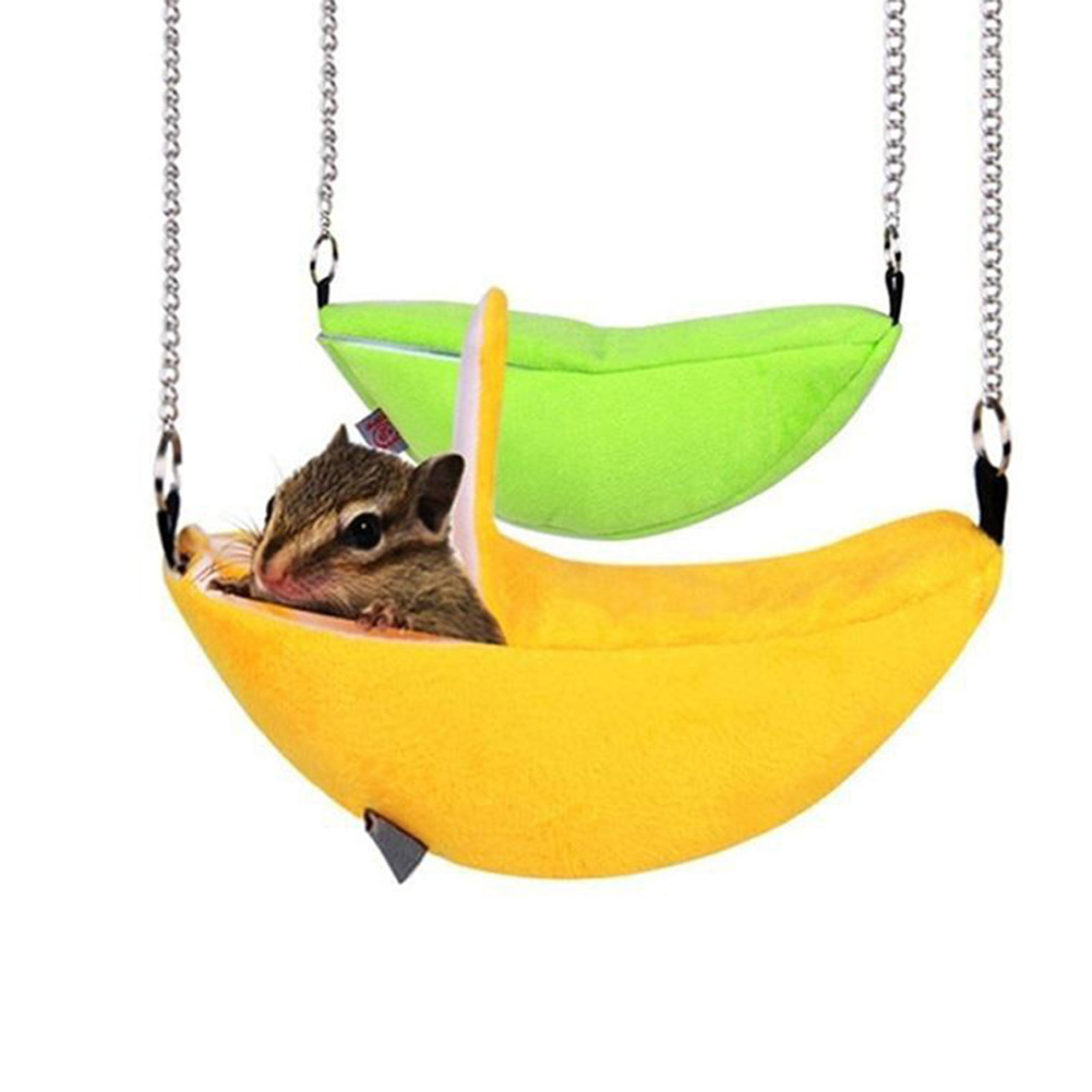 Small Animal Bird Bed House Hamster Cotton Nest Banana Shape House Hammock Bunk Toys Cage for Sugar Glider Hamster Pet Supplies
