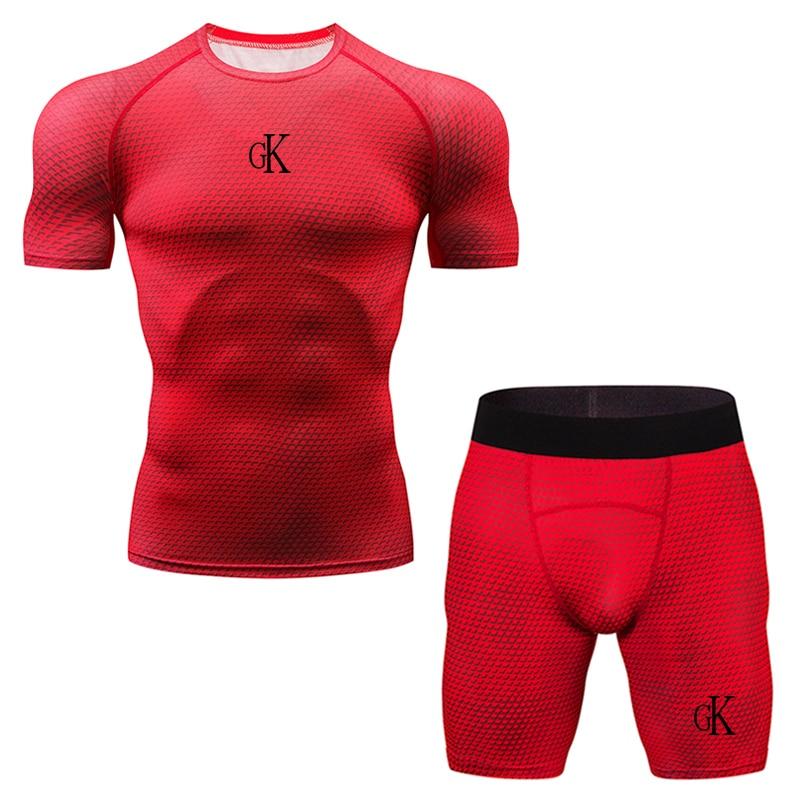 Running Set Men Sport Compression Set For Training Running Clothing Quick Dry Gym Suits Plus Large Size Men's Set