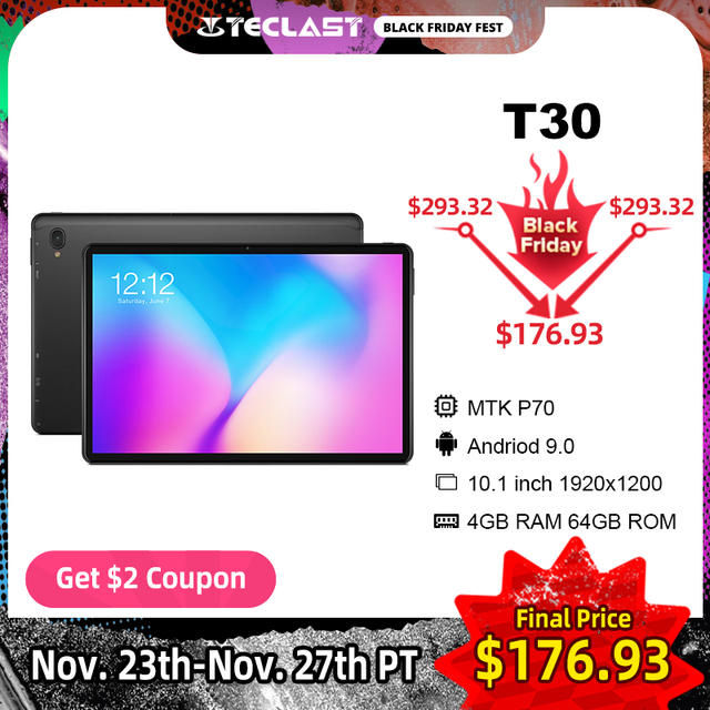 Teclast T30 10.1 אינץ 4G Phablet Tablet 1920 × 1200 מלא HD אנדרואיד 9.0 MTK P70 אוקטה Core A73 4GB RAM 64GB ROM 8000mAh סוג C GPS