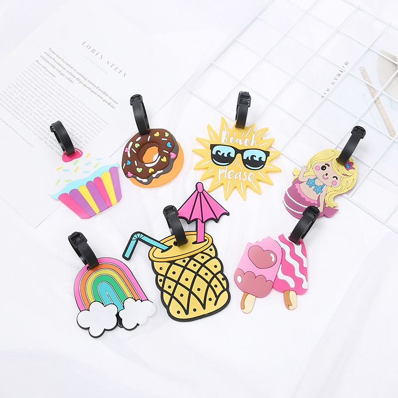 Cartoon Cake Donut Luggage Tags Portable Travel Accessories Silica Gel Suitcase ID Address Holder Women Baggage Boarding Label