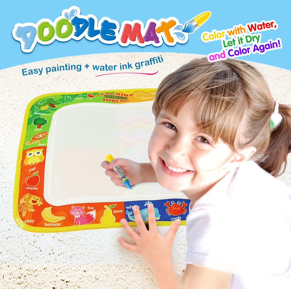 29*30cm Water Drawing Mat With Doodle Painting Pen Early Educational Toys For Children Kids  Magic Drawing Board