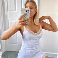 Vestido corto femenino de primavera-verano sin mangas con tirantes, minivestido Sexy con bordado de margaritas para mujer, para fiesta y Club, 2021