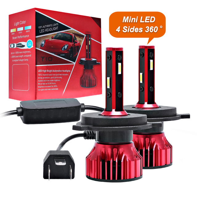 מנורת H1 H7 Led Canbus פנס 100W 10000LM 4 צד 360 תואר HB3 HB4 רכב LED הנורה H4 H3 h11 9005 9006 9007 880 H27 אורות 12V