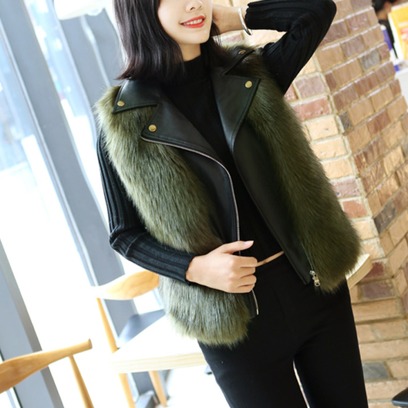 Autumn And Winter Fox Fur Sleeveless Vest Faux Fur PU Leather Stitching Vest Female 2019 Short Fashion Lapel Imitation 24