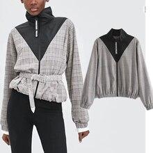 2019 autumn jacket women england preppy style patchwork zipper sashes casaco feminino jaqueta feminina