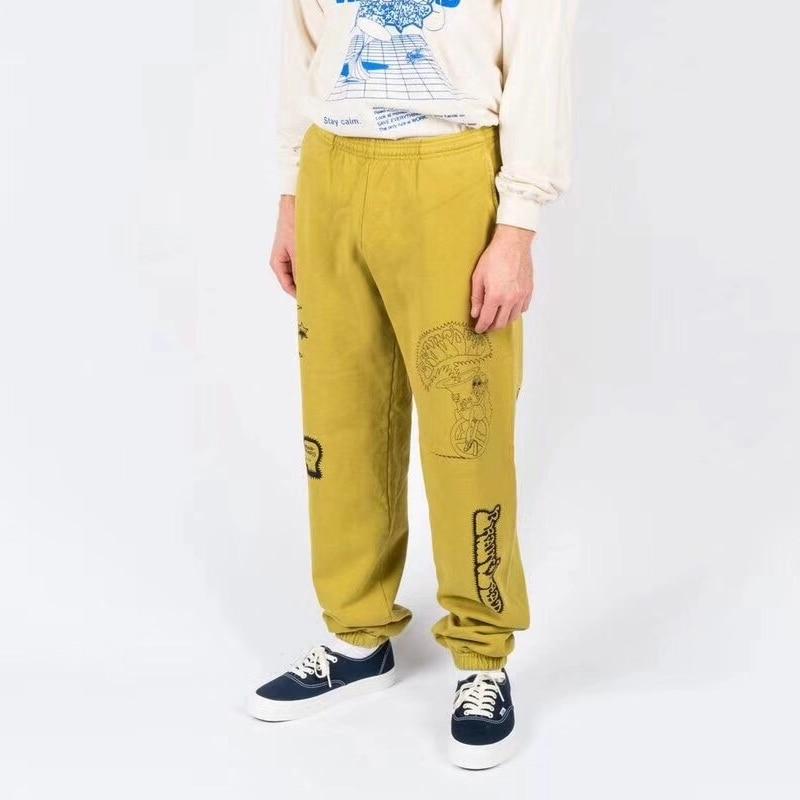 2020 Kanye West Brain Dead Gustavo Sweatpants Men Women Hip Hop High Quality Pants 1:1 Yellow/Black Cotton Trousers