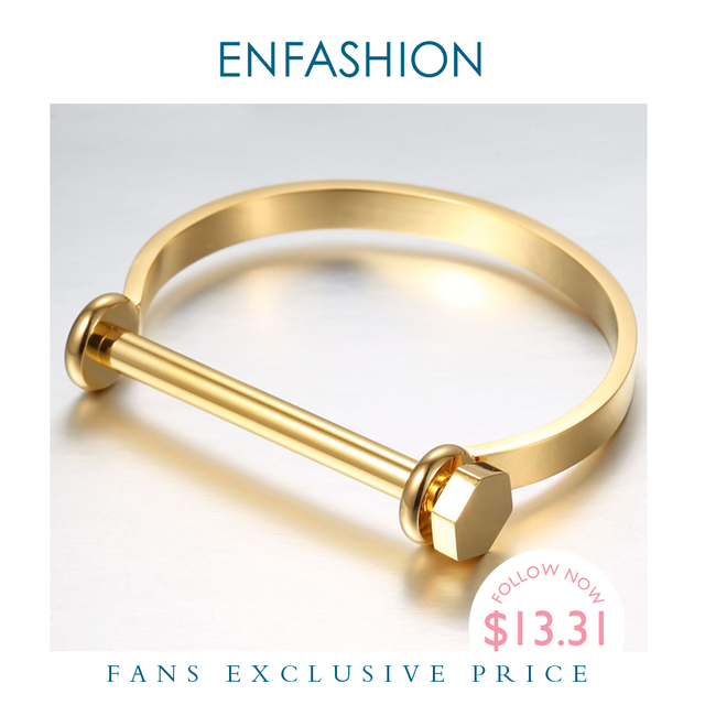 Enfashion שאקל U קאף צמיד Noeud armband זהב צבע בורג צמיד צמיד לנשים צמידי Manchette צמידים