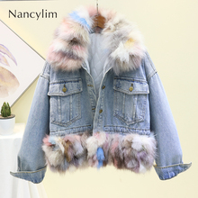 Winter Colorful Natural Fur Coat Women Real Fox Thicker Warm Girl Lady High Quality Cotton Jacket Chaqueta Mujer 2019