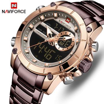 NAVIFORCE Hot mężczyźni zegarki moda Casual Bussiness zegarek kwarcowy mężczyźni chronograf wojskowy zegarek ze stali nierdzewnej Reloj Hombre tanie i dobre opinie 24cm Moda casual QUARTZ 3Bar Składane zapięcie z bezpieczeństwem Stop 15 5mm Hardlex Nie pakiet STAINLESS STEEL 43 5mm