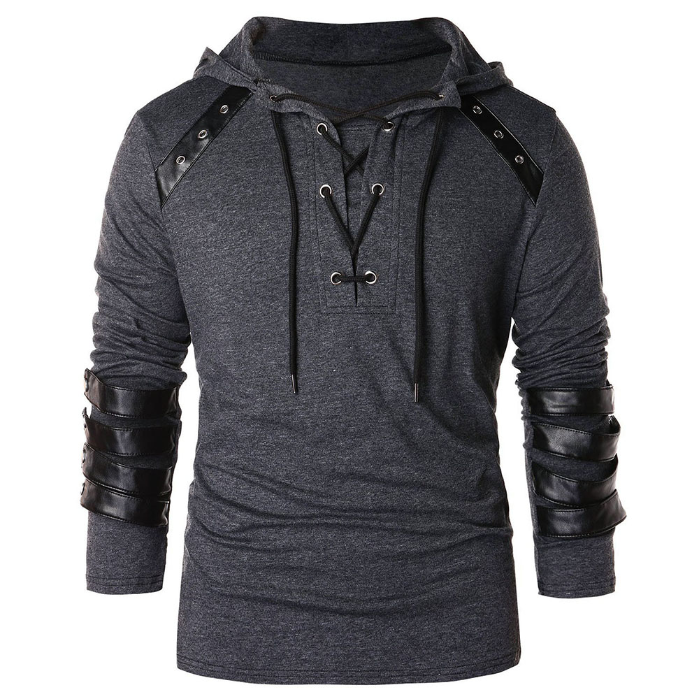 Men Hoodie Plus Size Punk Pu Leather Long Sleeve Lace Up Black Blue Streetwear Gothic Casual Hooded Sweatshirt 2020 Spring Tops