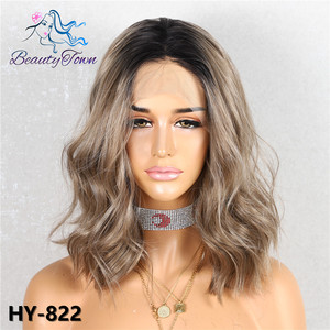 Image 3 - BeautyTown Dark Root Ombre Brown Grey Pink Green Mint Short Blogger Daily Makeup Glueless Synthetic Lace Front Wedding Party Wig