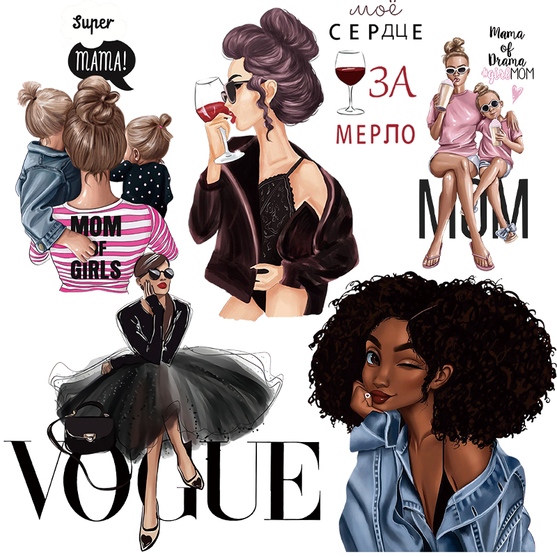 Fashion VOGUE Girls Patches DIY T-shirt Jacket Hot Mom Women Iron On Patch Heat Transfer Stickers For Clothes Applique Badges