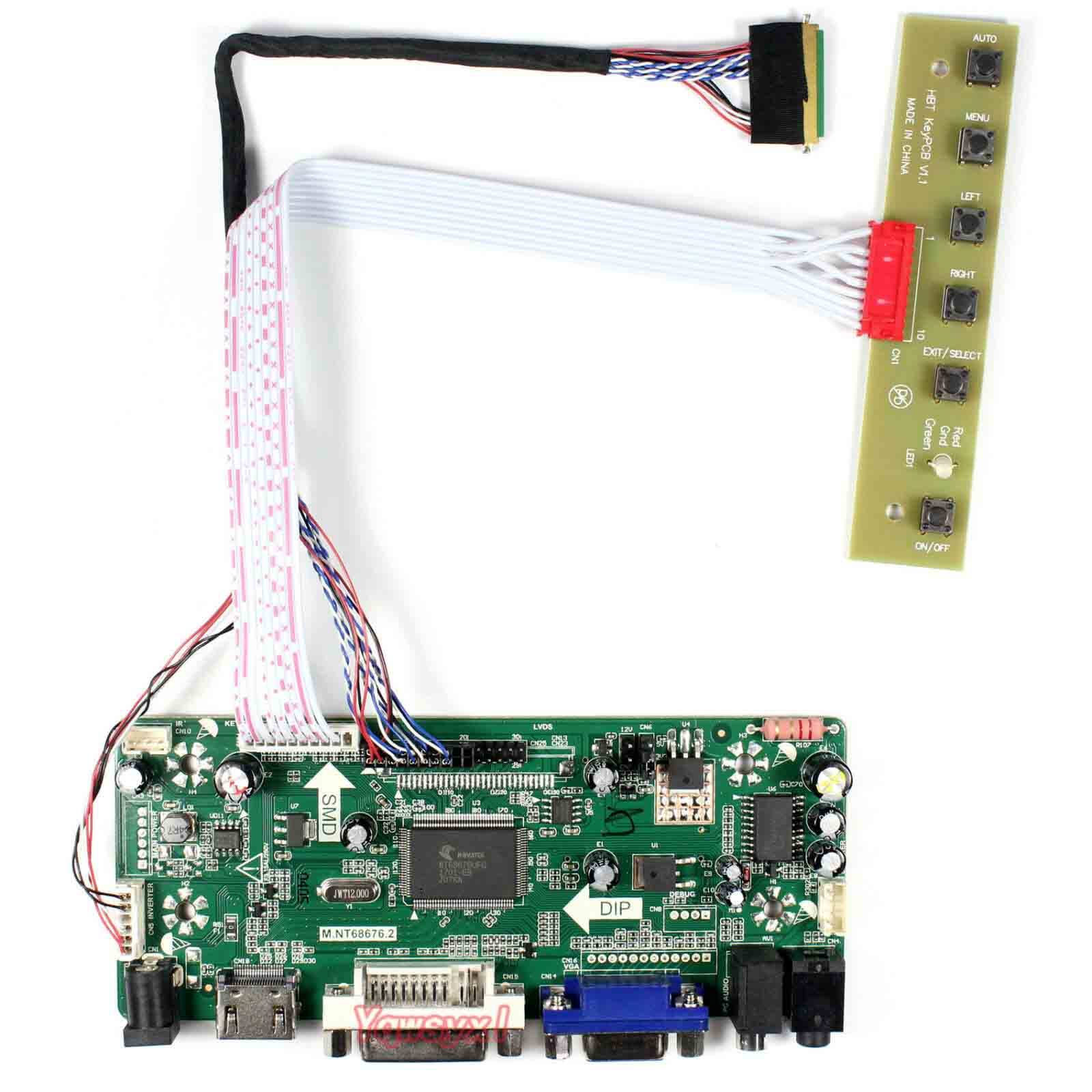 Yqwsyxl HDMI+VGA+DVI+Audio LCD Controller board M.NT68676 for 14inch LTN140AT02 LTN140AT07 HT140WXB HSD141PHW11366x768 lcd panel