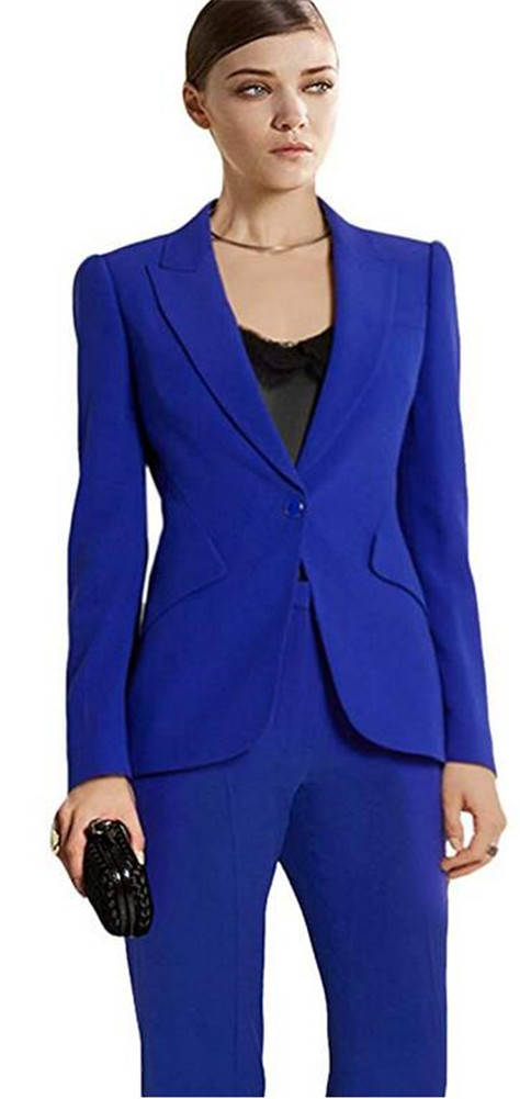 Blue Formal Office Uniform Style Female Trouser PantSuit Women Set Ladies Pant Suits Jacket+Pants Women Business Suits Blazer
