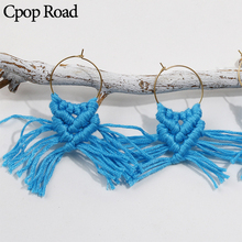 Cpop Fashion Handmade Weave Macrame Tassel Earrings Ethnic Blue Cotton Pendant Dangle Bridesmaid Jewelry Accessories
