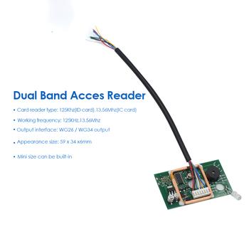 125KHz 13 56MHz podwójna częstotliwość karta kontroli dostępu czytnik czytnik kart RFID kontroler dostępu kontrola dostępu do drzwi zestaw do organizacji Jc03 tanie i dobre opinie LUCKING DOOR CN (pochodzenie) Nie Bezpieczny Brak 125Khz(ID card) 13 56Mhz(IC card) 125KHz 13 56Mhz WG26 WG34 output 59 x 34 x6mm
