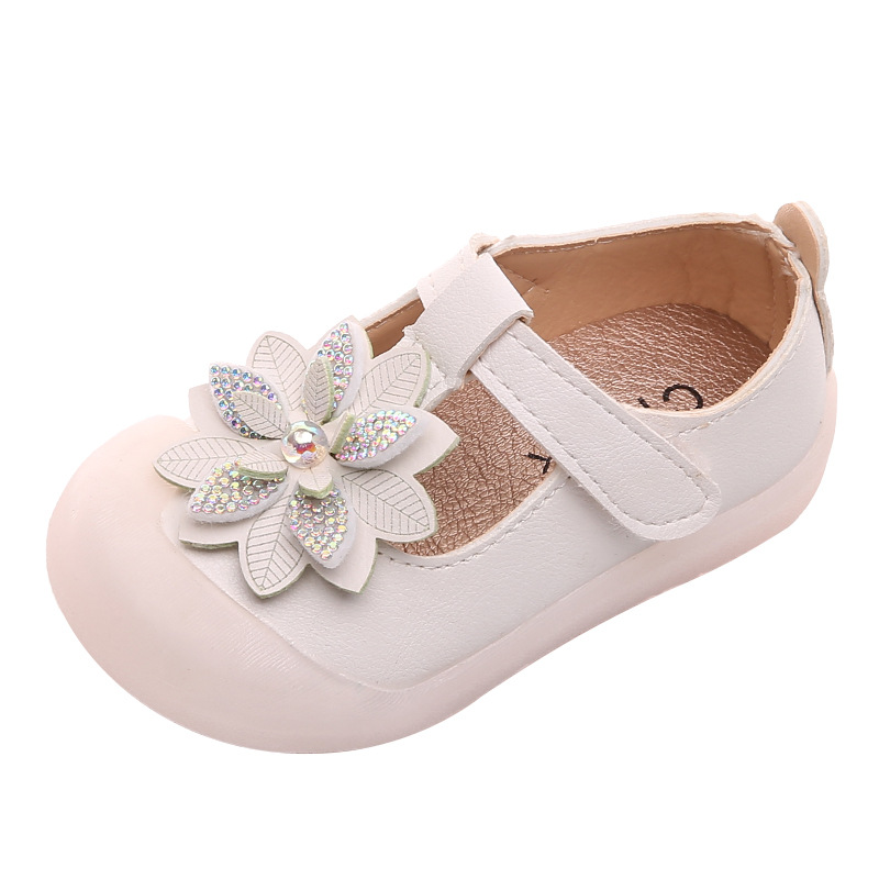 Toddlers Girls Leather Shoes Fashion Floral Dress Shoes Infants Flats T-strap Flowers with Rhinestone Little Baby Girl Shoes New