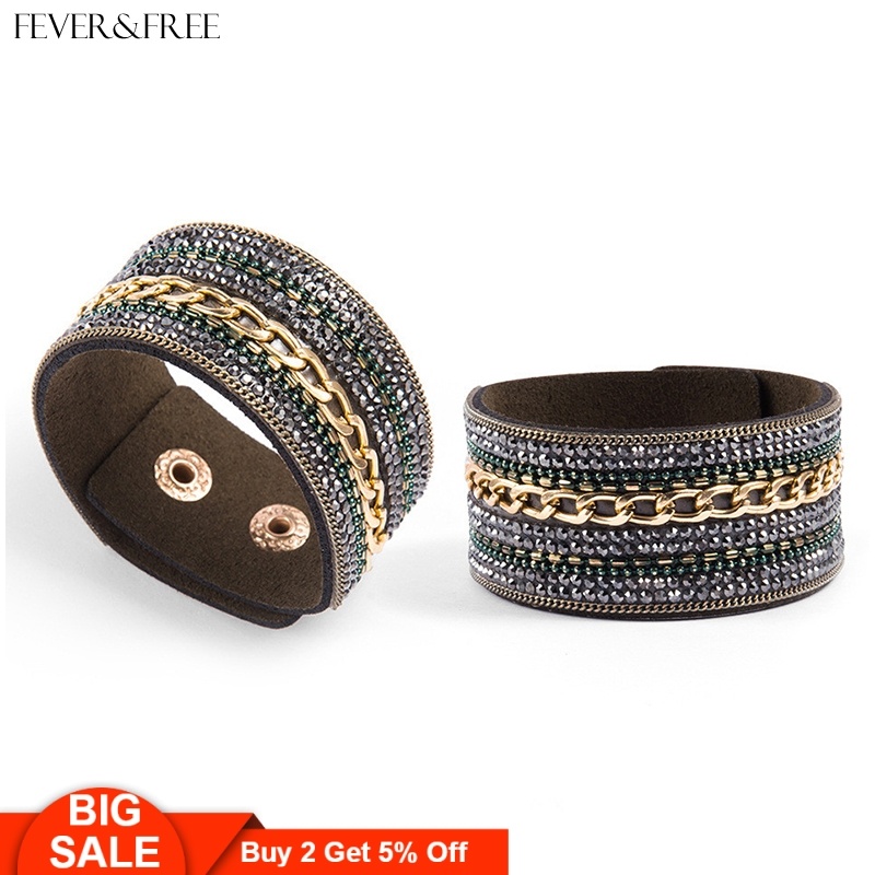 Fever&Free Top Quality Dainty Boho Bracelets & Bangles Women Wide Leather Crystal Bracelet Suede Femme Vintage Jewelry Wholesale