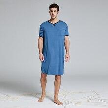 Мужская Модальная очень большая и высокая ночная рубашка с коротким рукавом, одежда для сна, футболка, пижама, одежда для сна, домашняя одежда, одежда для отдыха, ночная рубашка Хенли