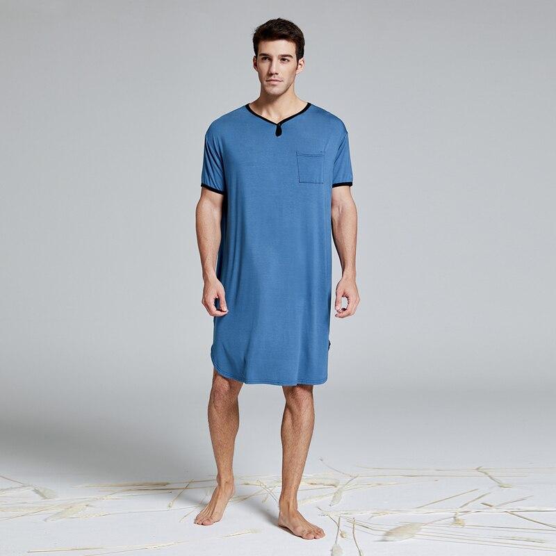 Men's Modal Extra Big & Tall Short Sleeve Nightshirt Nightwear T-shirt Pyjamas Sleepwear Homewear Lounge Wear Henley Sleep shirt