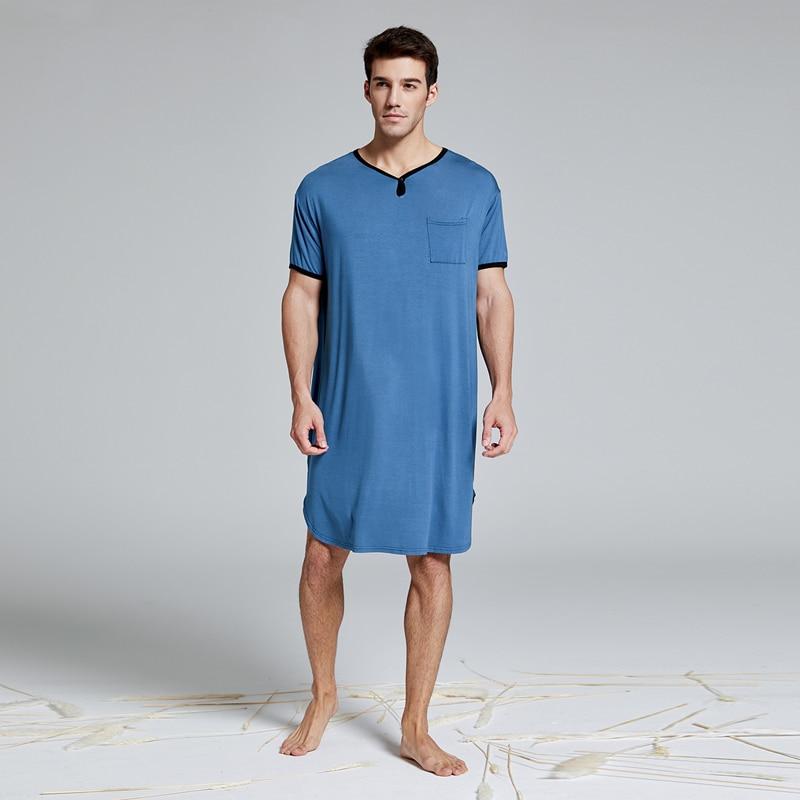 Men's Modal Extra Big&Tall Short Sleeve Nightshirt Nightwear Pyjamas Sleepwear Homewear Lounge Wear Henley Sleep Shirt Tops Robe