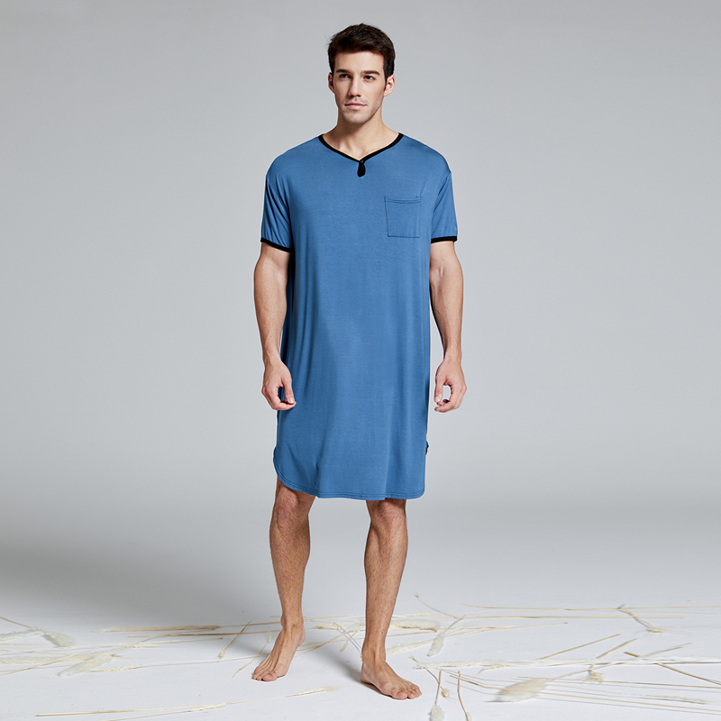 Men's Modal Extra Big & Tall Short Sleeve Nightshirt Nightwear T-shirt Pyjamas Sleepwear Homewear Lounge Wear Henley Sleep Shirt
