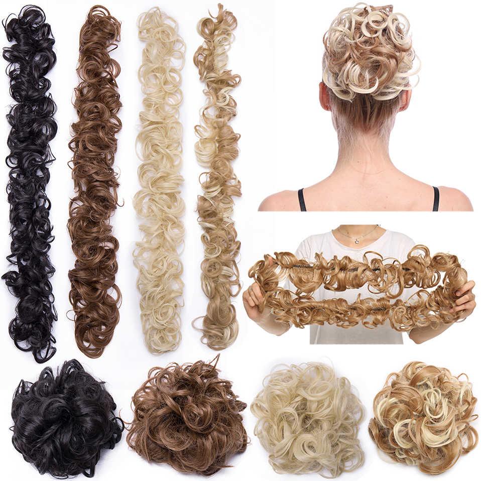 S Noilite 80cm Elastic Band Hair Chignon Updo Twining Hair Extension Synthetic Chignon Hair Pieces Women Chignon