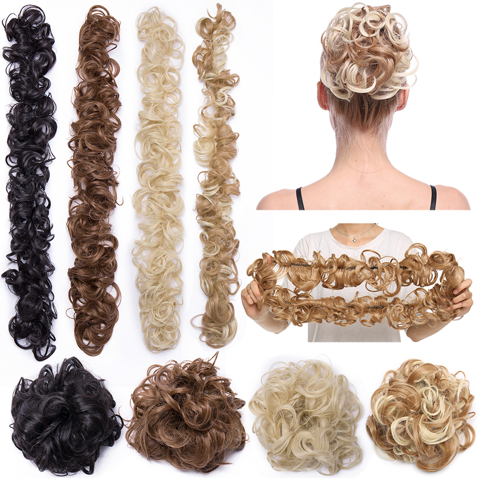 S-noilite 80cm Elastic Band Hair Chignon Updo Twining Hair Extension Synthetic Chignon Hair Pieces Women Chignon Hairpieces