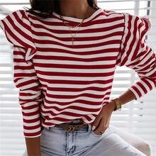 Bahar sonbahar eğlence temel üstleri moda kadınlar Casual çizgili uzun kollu Ruffles omuz yuvarlak boyun günlük giyim tunik kırmızı siyah