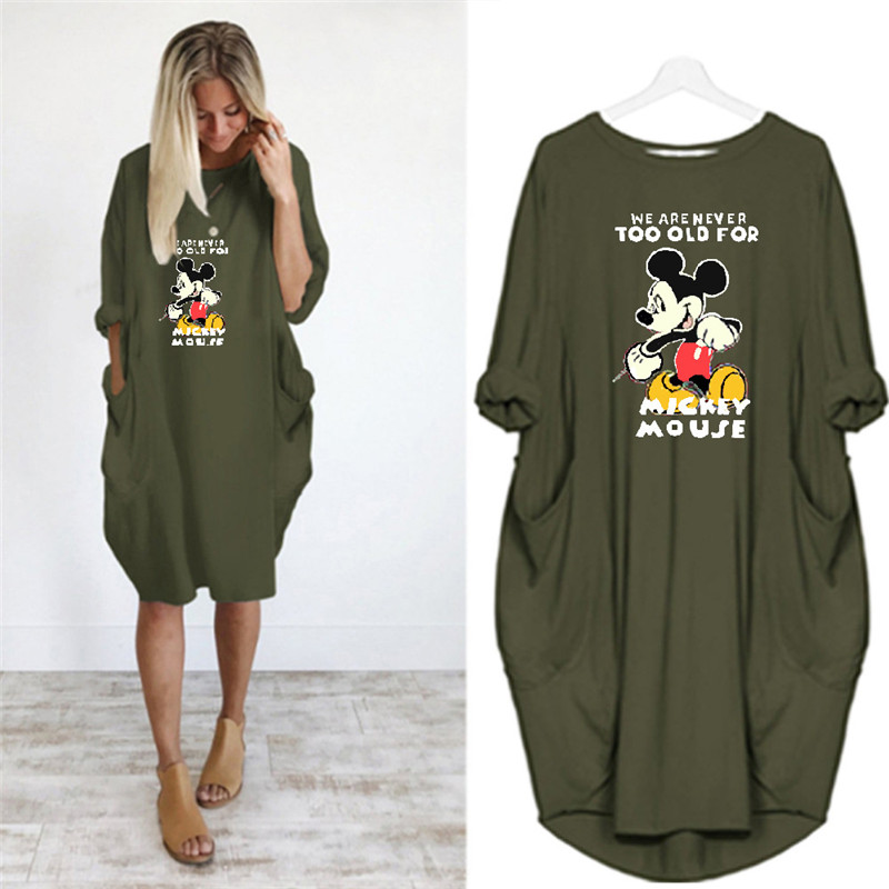5XL Loose Large Size Women's Casual Dress Fashion Round Neck Long Sleeve Mouse Printed Pocket Spring Autumn New Women's Dress(China)