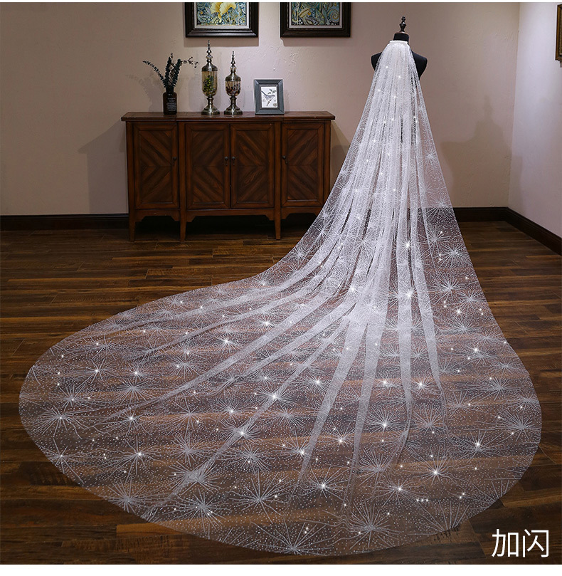 Bride Wedding Veil Wedding Long Section White Polaris Trailing Long Bride Wedding Veil Accessories TS264 - 6