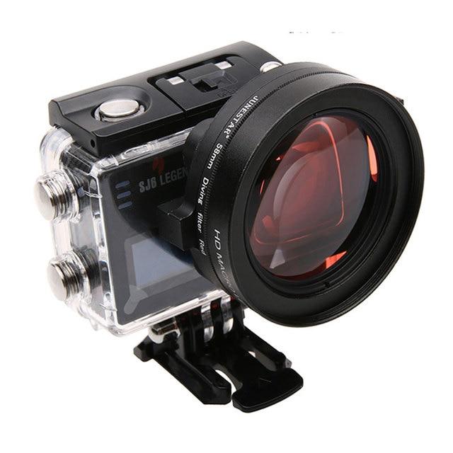 58mm 16x grossissement HD Macro objectif + filtre rouge 58mm adaptateur anneau capuchon dobjectif pour SJ6 Legend Gopro 3 4 accessoires de photographie