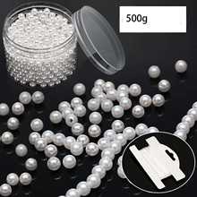 metable 600 Pieces Art Faux Pearls 8 mm Pearl Beads with Holes White Round Pearls with 10 m Stretch Cord in Plastic Box cluci hot seller 20pcs green 7 8mm round akoya oysters double pearls in each oysters can get 40 saltwater pearls free shipping