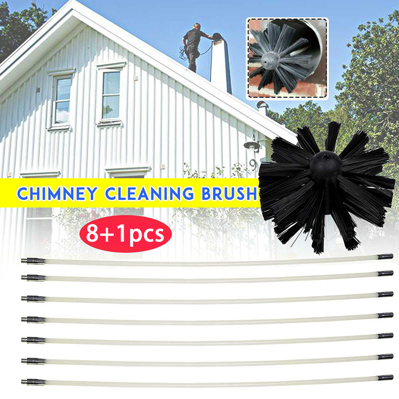Chimney Cleaner Brush Cleaning Rotary Sweep Nylon Wire Fireplace Kit+Rod Tools