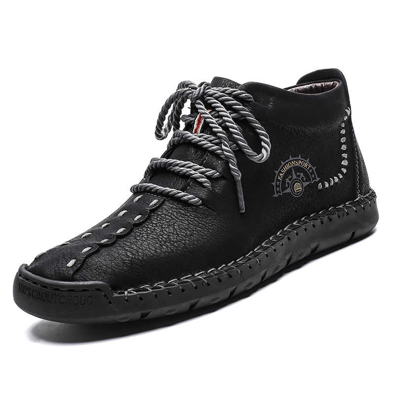 Top Selling Leather Men Shoes High Top Spring Autumn Shoes Big Sizes Men Lightweight Sneakers Vulcanized Shoes Lace-up 2019