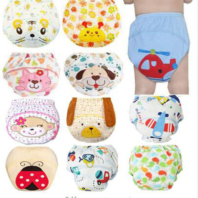 Cute Baby Diapers Reusable Nappies Cloth Diaper Washable Baby Cotton Pants For Training