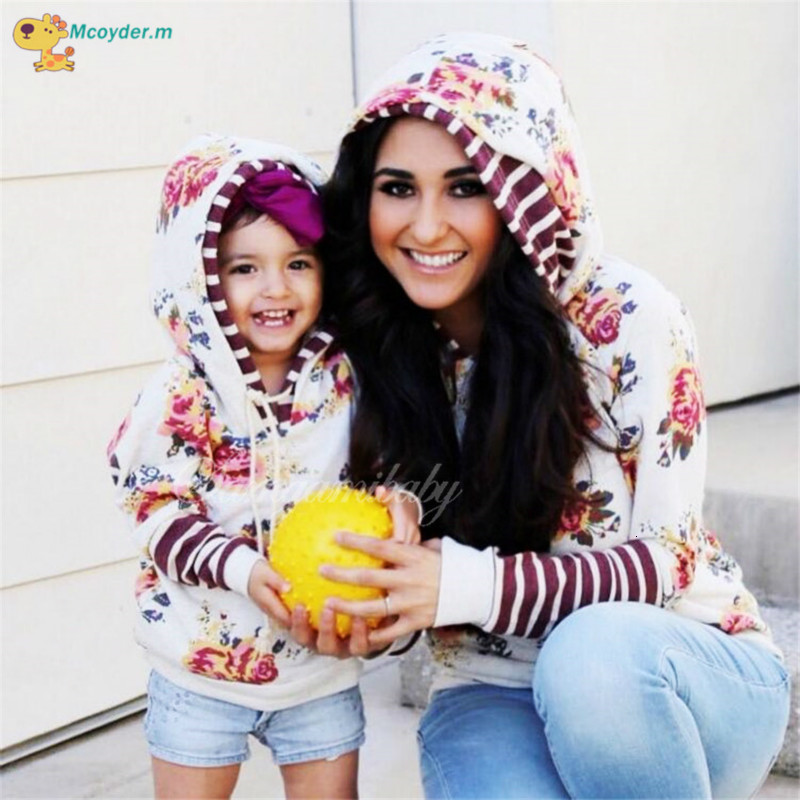 Family Matching Clothes New Mother And Daughter Matching Clothes Mom And Girls Hooded Pullover Print Sweater Family Look