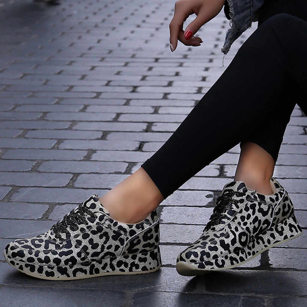 Kancoold Damesmode Sportschoenen Leopard Printing Lace-Up Platte Gevulkaniseerd Schoenen Sneakers Vrouwen 2019 Tenis Feminino