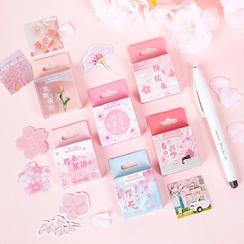 YueGuangXia 6 Designs Sweet Pink Rosy Sakura Flower Japanese Spring Stickers Scrapbooking Bullet Journal Deco Stickers 45 Pcs