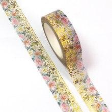 1pc 15mm * 10m folha primavera ouro dot rosa flores folhas decorativo washi scrapbooking fita adesiva escola material de escritório
