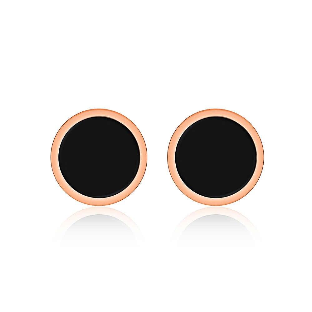 JeeMango อินเทรนด์สีดำอะคริลิคสแตนเลสสตีลสร้อยคอสร้อยข้อมือต่างหูแหวนเครื่องประดับชุดผู้หญิง JSE004