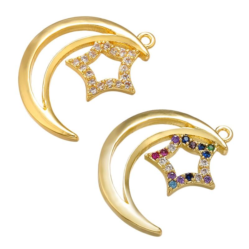 ZHUKOU 14x18.5mm Brass Crystal Moon&star Pendant For Women Necklace Bracelet Earring Handmade Jewelry Accessories Model: VD612