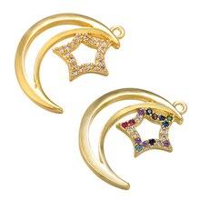 Star-Pendant Earring Brass Bracelet Jewelry-Accessories Necklace Crystal Moon Handmade
