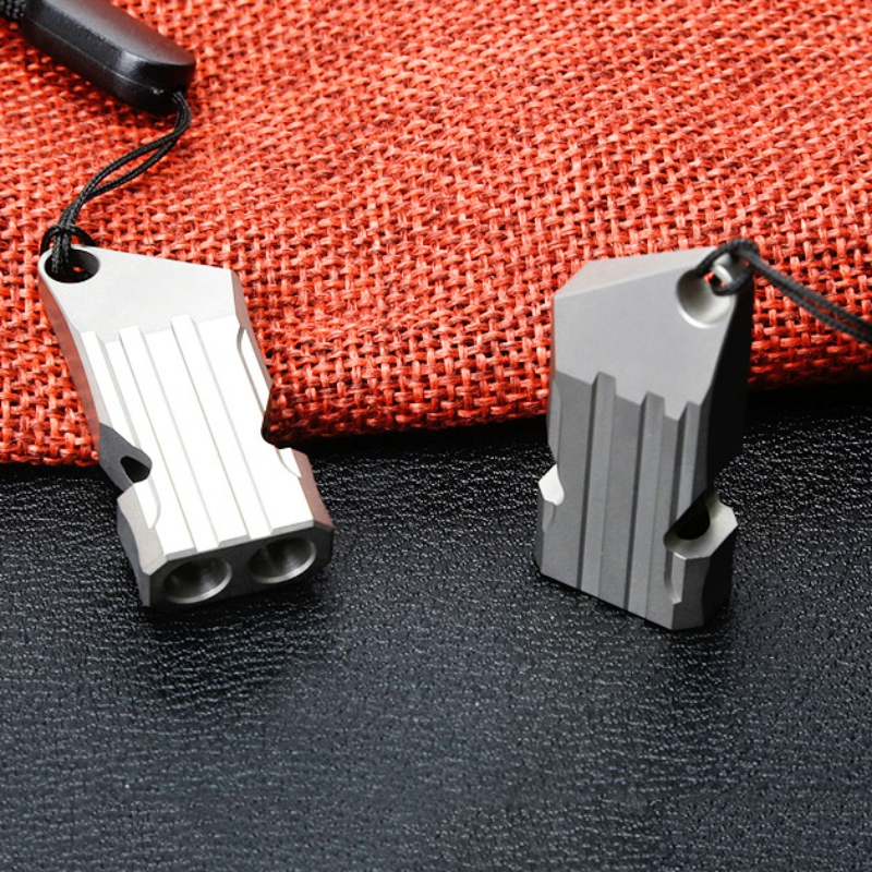 Outdoors High Decibel Portable Whistle Titanium Double Pipe Emergency Training  Survival Whistle Multifunction EDC Tool