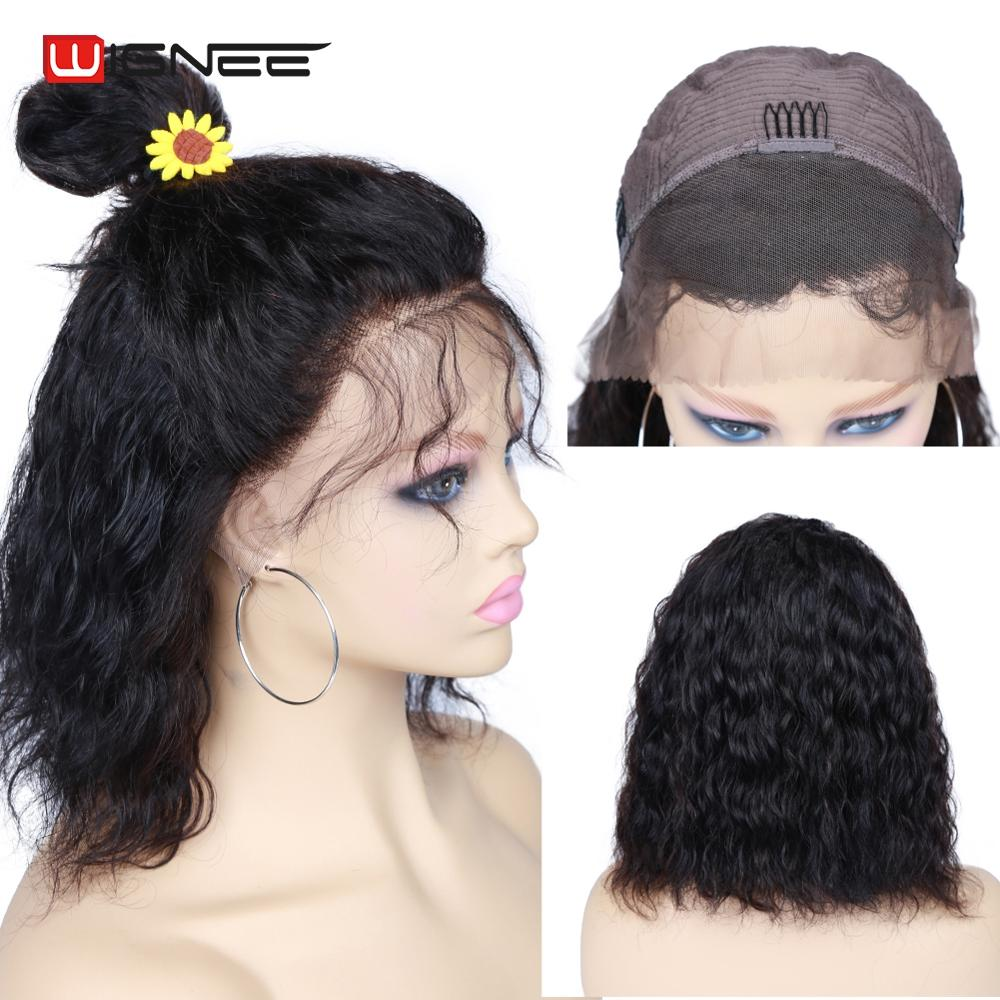 Wignee Short Curly Lace Front Human Hair Wigs With Baby Hair For Black Women Remy Brazilian 150% High Density Lace Human Wigs