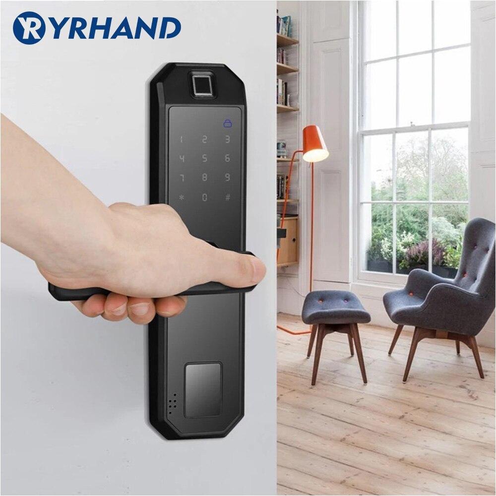 Hddb635a4d3f94024a17d9bc8de9f24ceo WIFI Smart Fingerprint Door Lock Code Card Key Touch Screen Digital Password Lock Electronic Door Lock with Tuya Smart APP