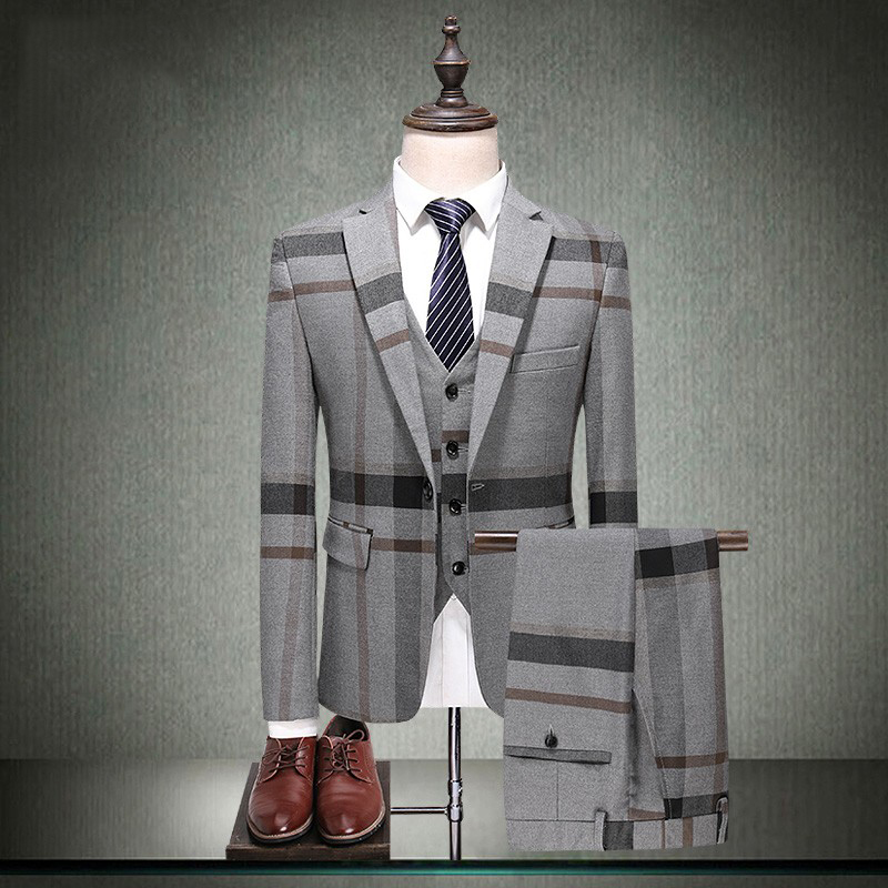 Fashion Plaid 3 Piece Business Mens Suits Wedding Groom Slim Fit Casual Tuxedos Formal Wedding Suits For Men (Jacket+Pants+Vest)