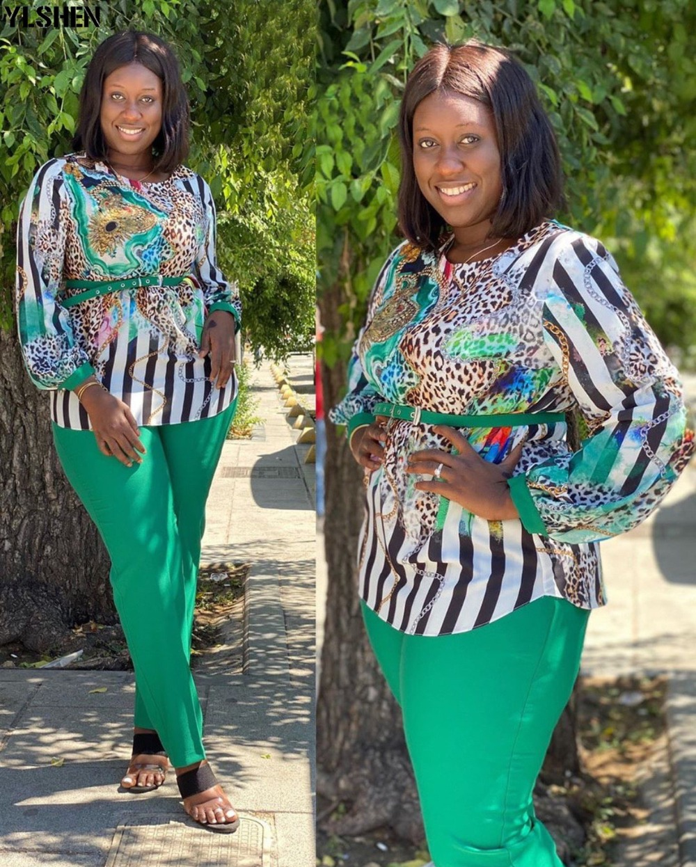 Two 2 Piece Set African Clothes Africa 2020 Dashiki Fashion Print Dresses Suit Bazin Top Pants Elastic Party Plus Size Clothing 09