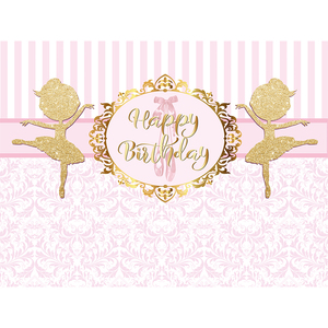 Image 4 - Funnytree photography photo zone ballerina first birthday photozone background party pink stripe dancer backdrop photophone