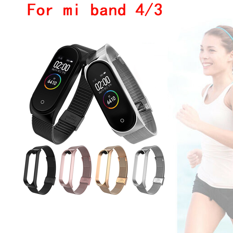 New Greentiger Steel Strap For Xiaomi 3 4 Smart Bracelet Stainless Steel Replacement Strap For Mi Band 3 4Xiaomi Smart Wristband